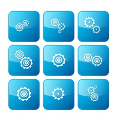 Cogs - Gears Blue Icons Set Isolated on White vector image