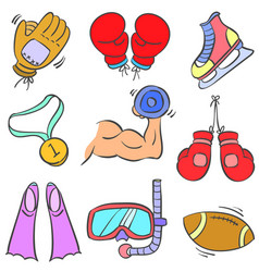 Collection sport equipment various doodles vector