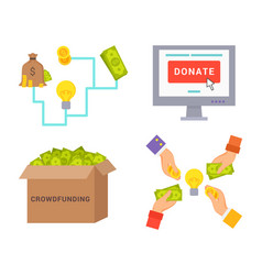 crowdfunding and donate set vector image