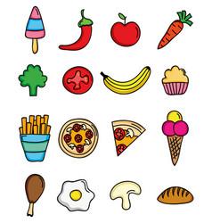 delicious food menu set icons vector image