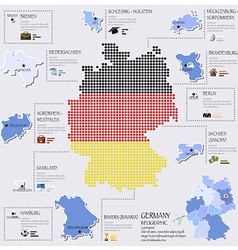 Dot And Flag Map Of Germany Infographic Design vector image