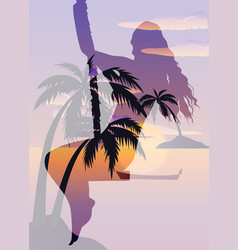 Double exposure beautiful girl and tropical beach vector