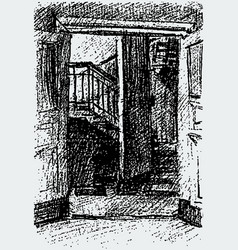 drawing open door to an entrance of vector image