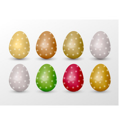 Easter realistic colorful eggs set with star fill vector