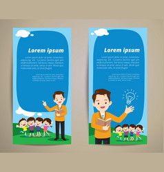 education teacher children banner background vector image