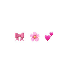 emoji emoticon reactions pink color icon set vector image