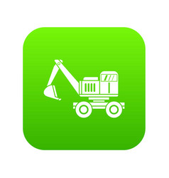 excavator icon digital green vector image