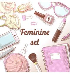 feminine beauty hand drawn doodle fashion set vector image