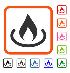 Fire place framed icon vector