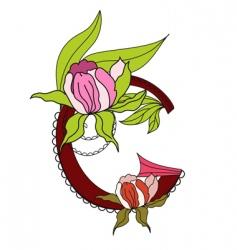 floral font 2 letter g vector image
