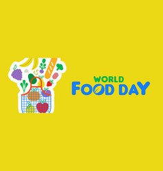 Food day web banner of fruit and vegetable icons vector
