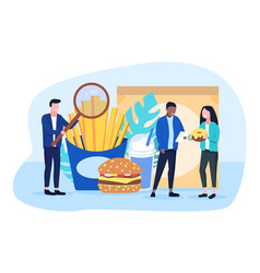 Food inspector doing quality control fast food vector