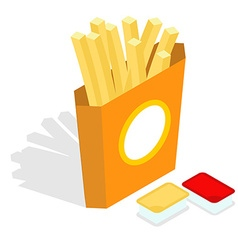 French fries isometrics Slices of roasted potatoes vector image