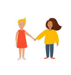 Girl woman holding hands character vector