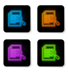 glowing neon document with search icon isolated vector image