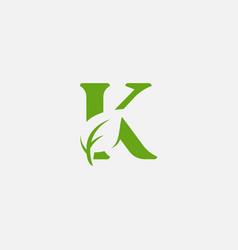 green leaves letter eco alphabet vector image