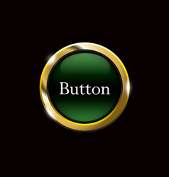 green shiny button with metallic vector image