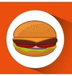 Hamburger fast food concept pin map design vector