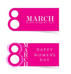 happy 8 march design icon in pink vector image