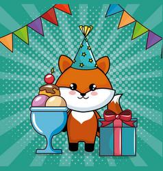 Happy birthday card with cute fox vector
