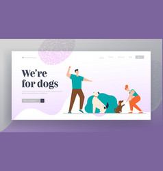 happy people training dogs in city park website vector image