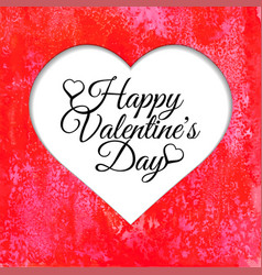 happy valentines day card with red watercolor vector image