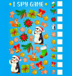 I spy game or puzzle with christmas gifts template vector