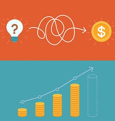 Idea to business plan concept in flat style vector