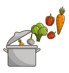 isolated vegetables and pot design vector image