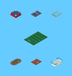 Isometric competition set of tennis volleyball vector