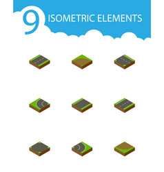 isometric way set of turn driveway unilateral vector image