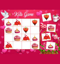 Kids logical game with saint valentine day symbols vector
