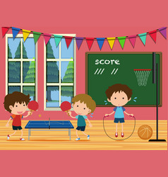 Kids playing sports in the room vector