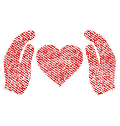 love care hands fabric textured icon vector image