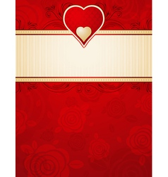 lovely red heart over background with roses vector image