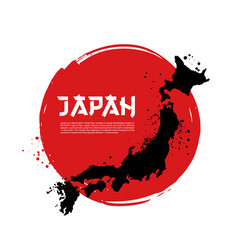 map of japan and japanese flag vector image