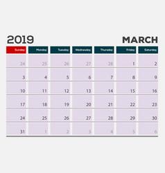 march 2019 calendar planner design template vector image