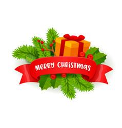merry christmas festive decor with fir-tree vector image
