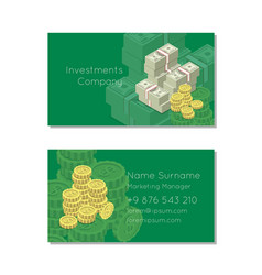 money investment company business card vector image