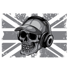 Monochromatic skull and flag great britain vector