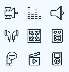 Music outline icons set collection of equalizer vector