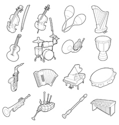 Musical instruments icons set outline cartoon vector