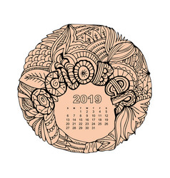 New year calendar grid with lettering october in vector