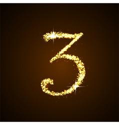 Number three gold glittering stars vector