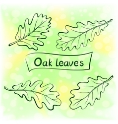 Oak Leaves Pictogram Set vector image