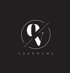 ov letter logo with cutted and intersected design vector image