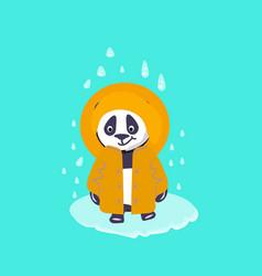 Panda in yelow costume under rain digital vector