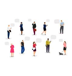 people with smartphones vector image