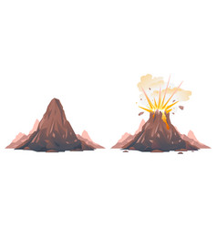 Process volcano eruption isolated vector