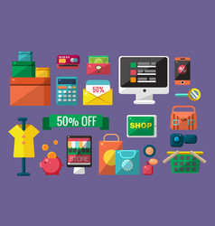 purchasing goods in internet store set online vector image